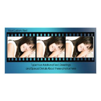 Cool Blue Filmstrip Photo Card, All-Occasion Customized Photo Card