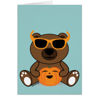 Cool cute Halloween bear sunglasses and pumpkin Greeting Card