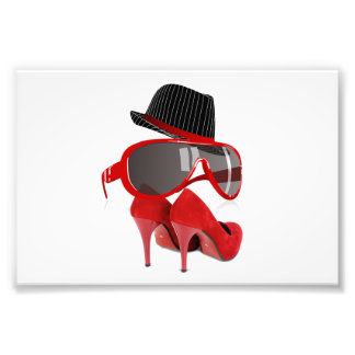 Cool Fashion red ladies hat shoes & glasses Photographic Print