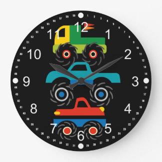Cool Monster Trucks Blue Red Green Gifts for Boys Wall Clocks