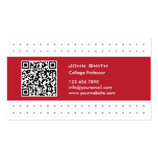 Cool QR Code Red Label Professor Business Card
