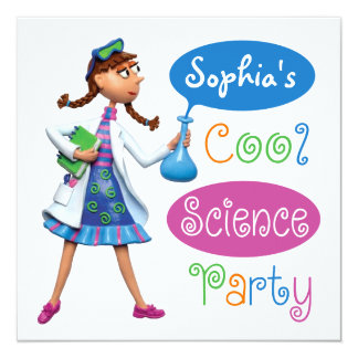 """Cool Science Birthday Party for Girls 5.25"""" Square Invitation Card"""