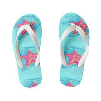 Cool Starfish in Teal Waters setting Kid's Flip Flops