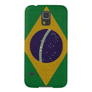 Cool trendy Brazil flag burlap texture Galaxy S5 Case