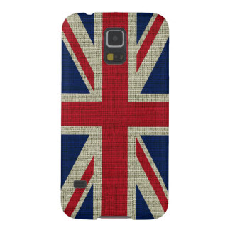 Cool trendy British flag burlap texture Cases For Galaxy S5