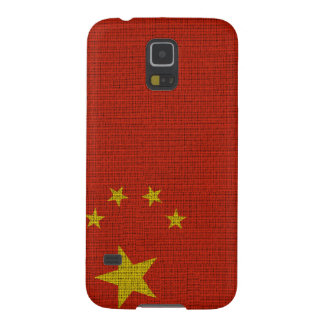 Cool trendy China flag burlap Cases For Galaxy S5