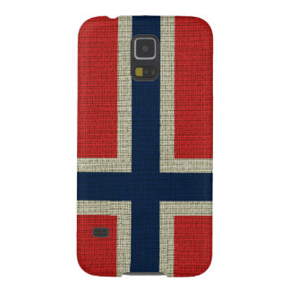 Cool trendy Norway flag burlap texture Galaxy S5 Cover