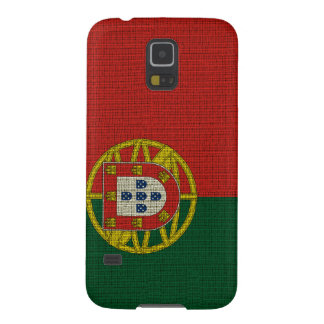 Cool trendy Portugal flag burlap texture Galaxy S5 Cases