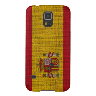 Cool trendy Spain flag burlap Cases For Galaxy S5