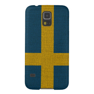 Cool trendy Sweden flag burlap Galaxy S5 Covers