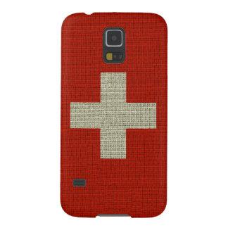 Cool trendy Switzerland flag burlap Cases For Galaxy S5