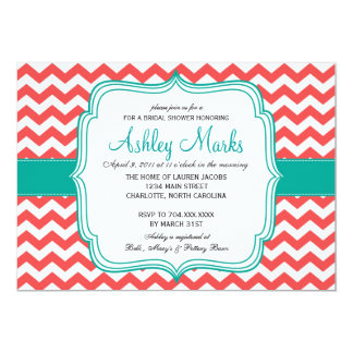 coral and turquoise Invitation