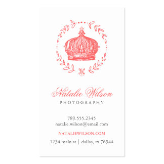 Coral Elegant Vintage Crown Vertical Business Card