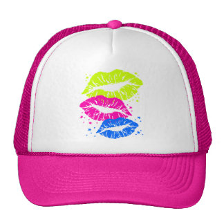 Corey Tiger 80s Vintage Lips & Stars Kisses Trucker Hat