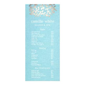 Cosmetology Silver Leaves Salon Price List Menu Customized Rack Card