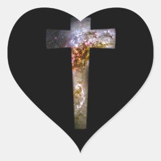 Cosmic Cross Heart Sticker