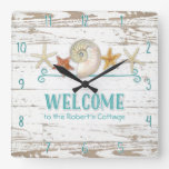 Cottage Style Welcome Wooden Beach Shells Board Wallclock