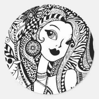 Couleur florale et Flirty votre propre Zendoodles Sticker Rond