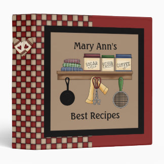 Country Check Recipe Binder