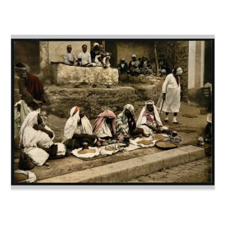 Couscous sellers and an Arab cafe, Tunis, Tunisia Postcard