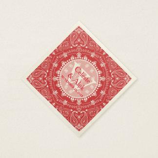Coutume rouge de mariage de Paisley de style de Serviette Jetable