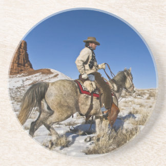 Cowboy with horses on the range on The Hideout Beverage Coasters