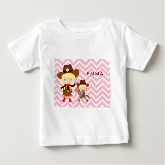 Cowgirls Sheriff Officer Horse on Chevron Shirts