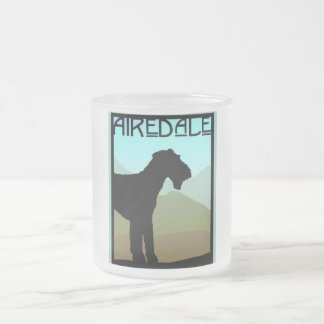 Craftsman Airedale Terrier 10 Oz Frosted Glass Coffee Mug
