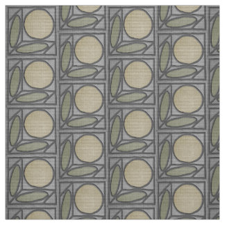 Craftsman Faux Applique (Gray, Green and Khaki) Fabric