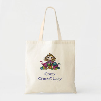 Crazy Crochet Lady Budget Tote Bag