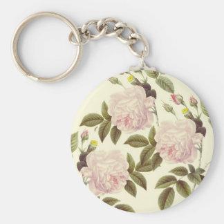 Creamy Rose Dream Basic Round Button Keychain
