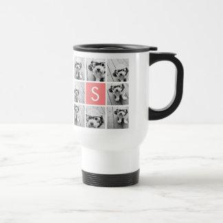 Create Your Own Instagram Collage Custom Monogram 15 Oz Stainless Steel Travel Mug
