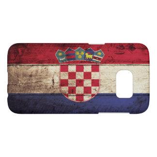 Croatia Flag on Old Wood Grain Samsung Galaxy S7 Case