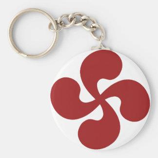 Croix Basque Rouge Lauburu Porte-clé Rond