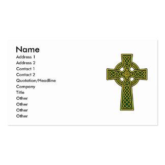 Croix celtique dans l'or et le vert carte de visite standard