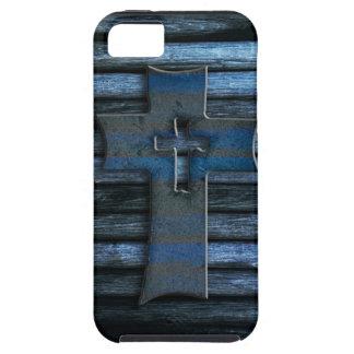 Croix en bois bleue coque iPhone 5 Case-Mate