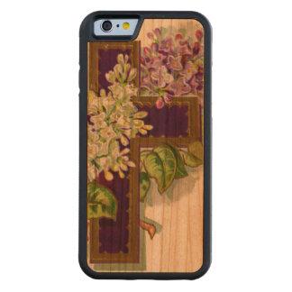 Croix pourpre avec des fleurs coque iPhone 6 bumper en cerisier