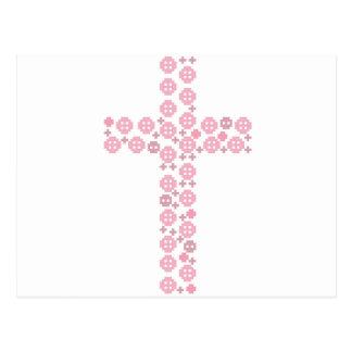 Croix rose de bouton cartes postales