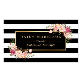 Cru d'or de salon de beauté de maquilleur floral carte de visite standard