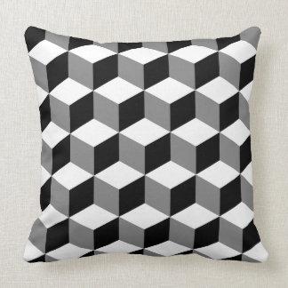 Cube Pattern Black White & Grey Pillows