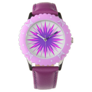 Custom Bezel in purple with ribbons Wrist Watches