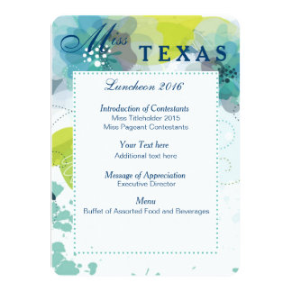 "Custom Floral Pageant Luncheon Program Card 4.5"" X 6.25"" Invitation Card"