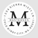Custom Monogram Circular Return Address Label Round Sticker