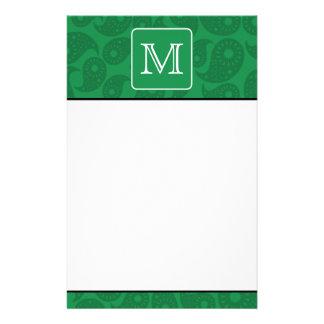 Custom Monogram. Dark Green Paisley Pattern. Stationery Paper