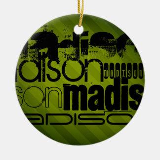 Custom Name, Black and Olive Green Round Ceramic Ornament