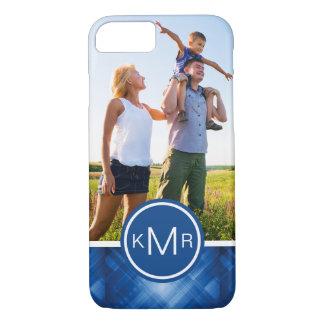 Custom Photo & Monogram blue hi-tech background iPhone 7 Case