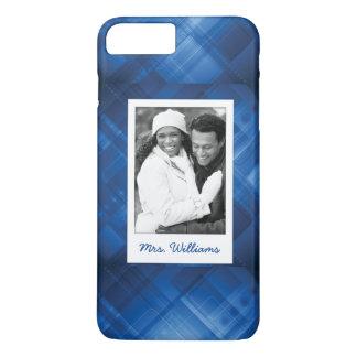 Custom Photo & Name Dark blue hi-tech background iPhone 7 Plus Case