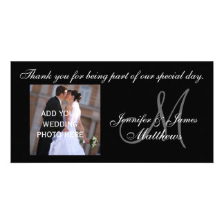Custom Wedding Thank You Monogram Photo Card
