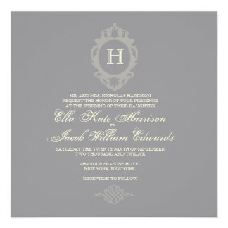 Customizable Charcoal & Cream Monogram Invitation
