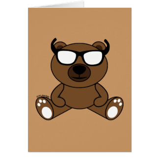 Customizable Cool brown bear with sunglasses Greeting Card